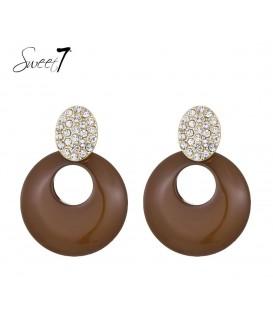 Sweet7 bruine oorbellen met strass steentjes in goudkleurige zetting