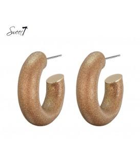 Bruine ronde oorbellen van Sweet7