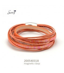 Oranje wikkelarmband met magneetsluiting