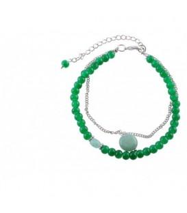 Groene armband half edel steenmet een jade hanger