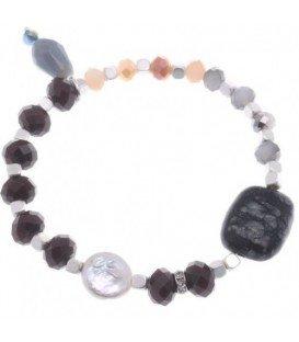 Gekleurde armband met verschillende kralen, natuursteen en zoetwaterparel