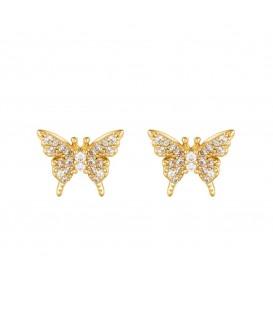 Goudkleurige oorbellen in de vorm van een vlinder met strasssteentjes