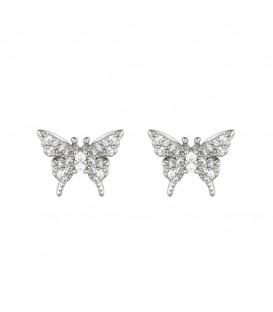 Zilverkleurige oorbellen in de vorm van een vlinder met strasssteentjes
