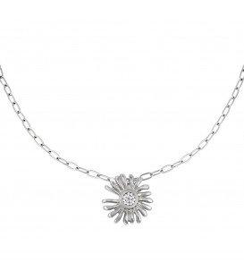 Zilverkleurige halsketting met als hanger een bloem en strassteentjes