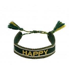 Leuke groene geweven armband met het woord 'happy'