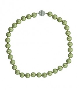 groene parel halsketting met magneet sluiting