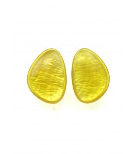 culture mix gele oorclips met parelmoer inleg