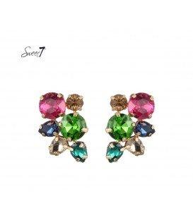 vrolijk gekleurde oorbellen met strass steentjes
