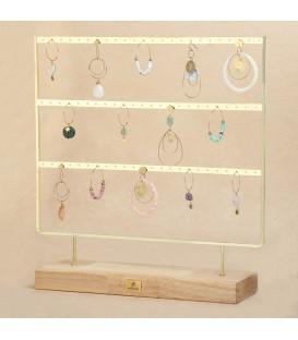 goudkleurige displayrek dat ruimte biedt voor 72 oorbellen (36 paar)