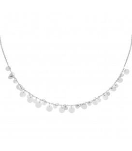 zilverkleurige halsketting met platte bedels