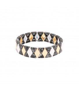zwarte armband met kralen in marmerprint gecombineerd met goud