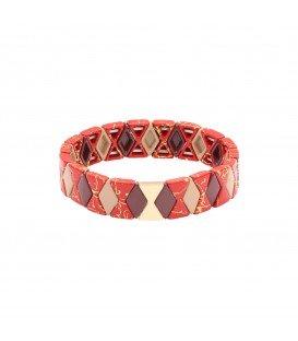 rode armband met kralen in marmerprint gecombineerd met goud
