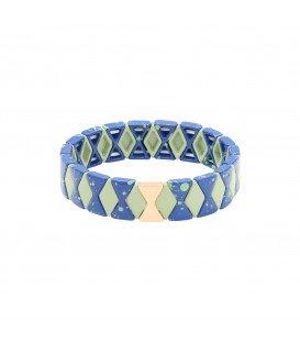 blauwe armband met kralen in marmerprint gecombineerd met goud