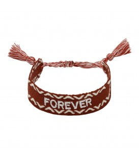 Bruine geweven armband met 'FOREVER' letters erop