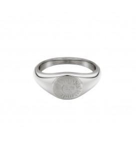 zilverkleurige ring met gegraveerde zon (16mm)