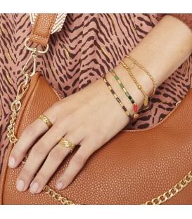 armband met groene en goudkleurige kralen en decoratieve sluiting