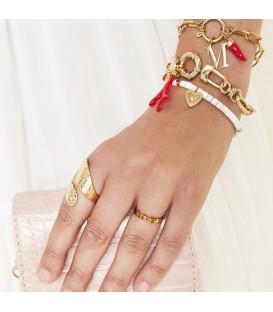 Goudkleurige ring 'love' (16)