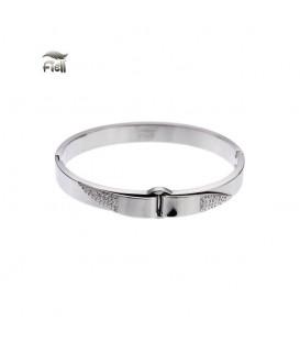zilverkleurige bangle armband met kleine strass steentjes