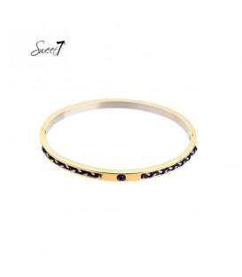 goudkleurige bangle armband met blauwe gevlochten details