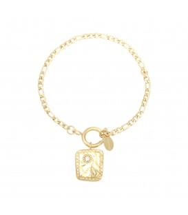 goudkleurige schakelarmband met vierkante bedel