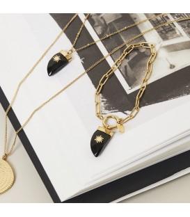 goudkleurige schakelarmband met hoorn