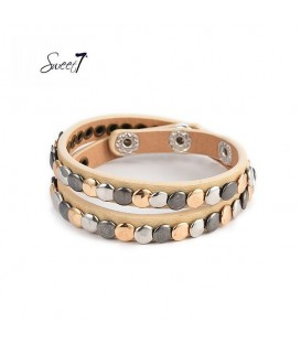 armband van naturelkleurig imitatieleer met kleine cirkeltjes