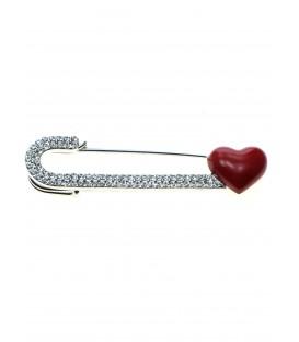 mooie sjaalspeld,veiligheidsspeld met strass steentjes en rood hartje
