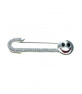 mooie sjaalspeld,veiligheidsspeld met strass steentjes en smiley