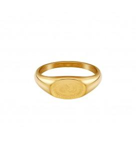 goudkleurige ring met gegraveerde zon en maan (18mm)