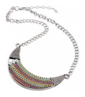 zilverkleurige ketting met kleurrijke statement hanger