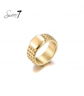 goudkleurige ring met bolletjes en een groter vlak (17)