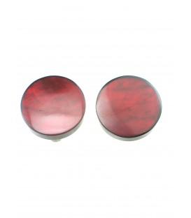 oorclips met rodee kleur en parelmoer