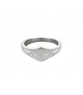 zilverkleurige ring met gegraveerde maan en sterren (17mm)