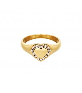 goudkleurige ring met een hart met steentjes (18)