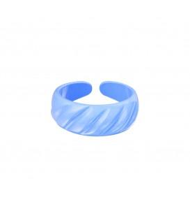blauwe metalen ring met mooie vormen