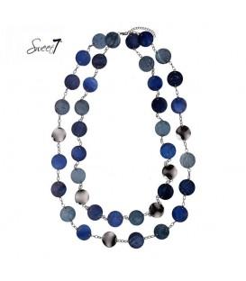 blauwe lange halsketting met mooie elementen