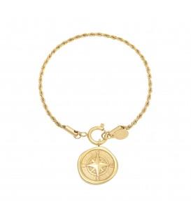 goudkleurige armband met kompasbedel