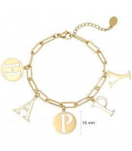 Goudkleurige armband met het woord 'HAPPY'