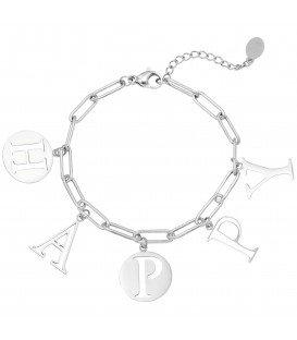 Zilverkleurige armband met het woord 'HAPPY'