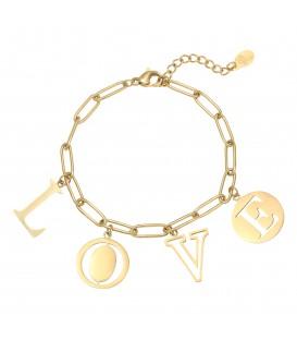 Goudkleurige armband met het woord 'LOVE'
