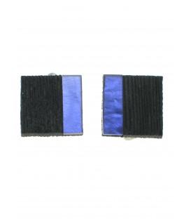 vierkante mooie oorclips met paarse en zwarte invulling