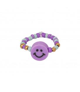 kralen ring met een paarse smiley