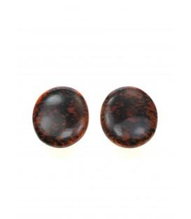 ovale oranje met zwarte culture mix oorclips