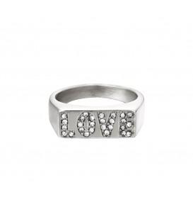 zilverkleurige ring met het woord love van zirkoonsteentjes (18)
