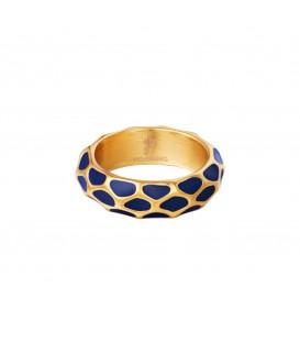 goudkleurige ring met blauw giraf patroon (16)