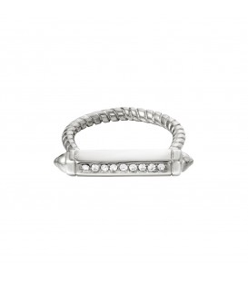 zilverkleurige ring met een staaf met zirkoonsteentjes (18)